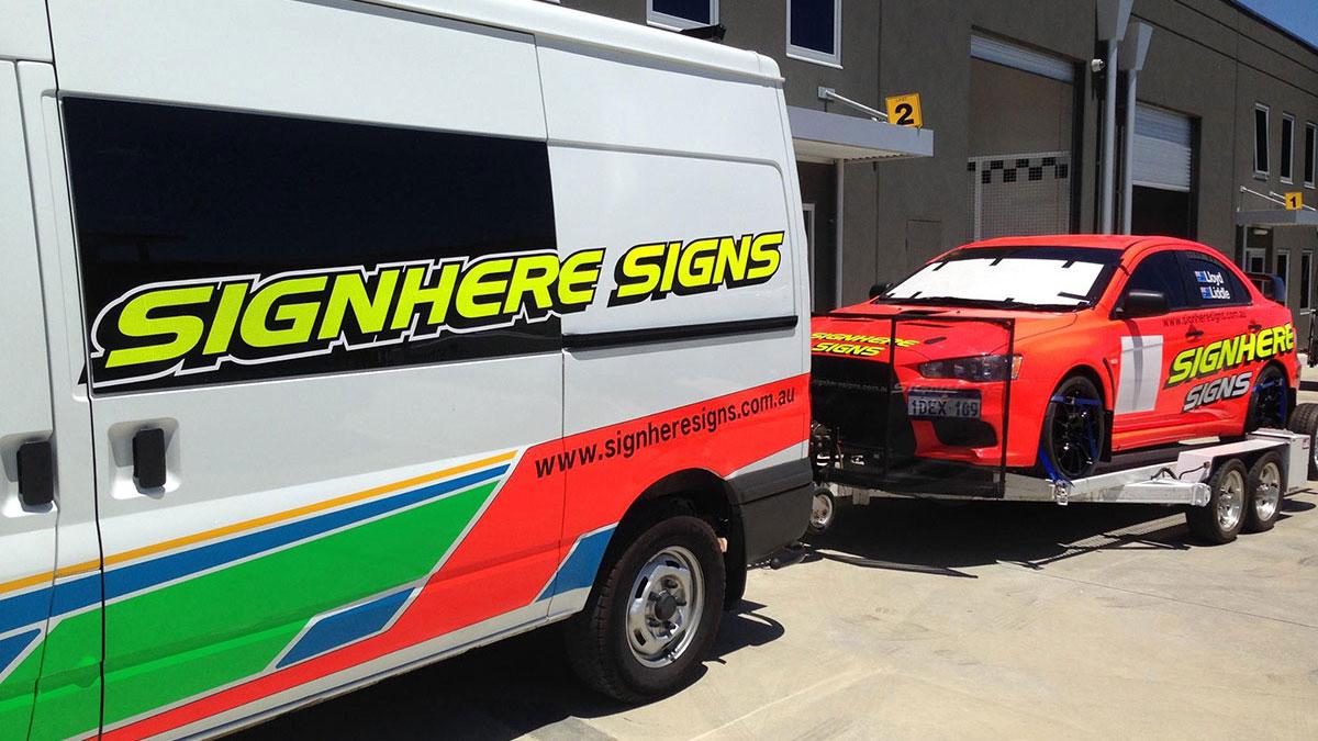 Sign Here Signs Motorsport Loaded for transport