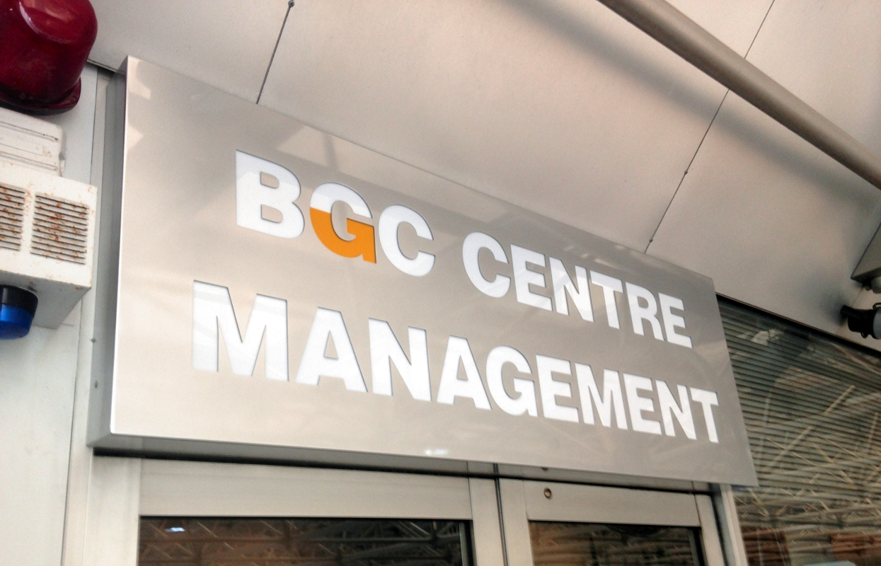 A lightbox entry sign for BGC