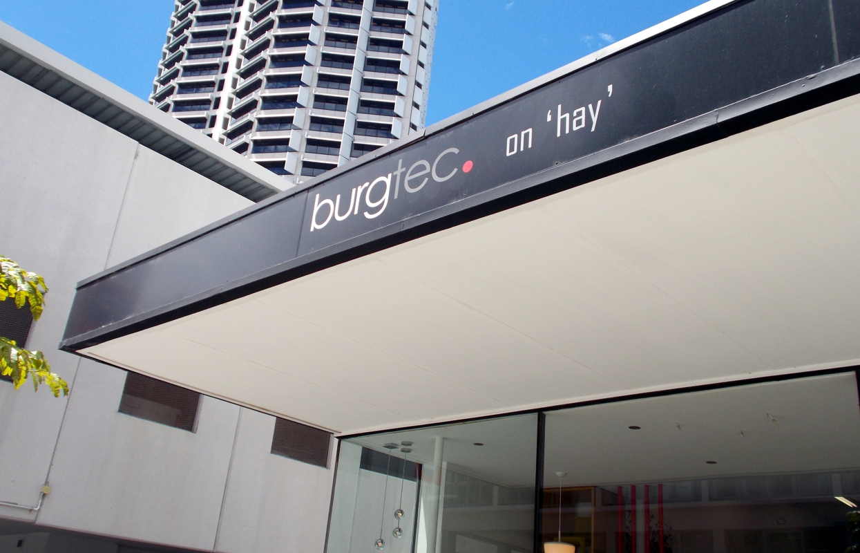 Commercial facia signage for Burgtec on Hay, Perth WA