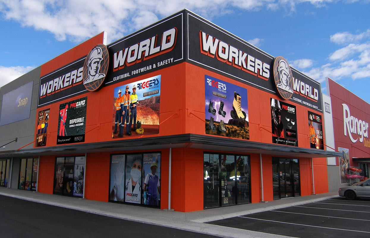 Custom Printed Banners for Workers World Building Fascia