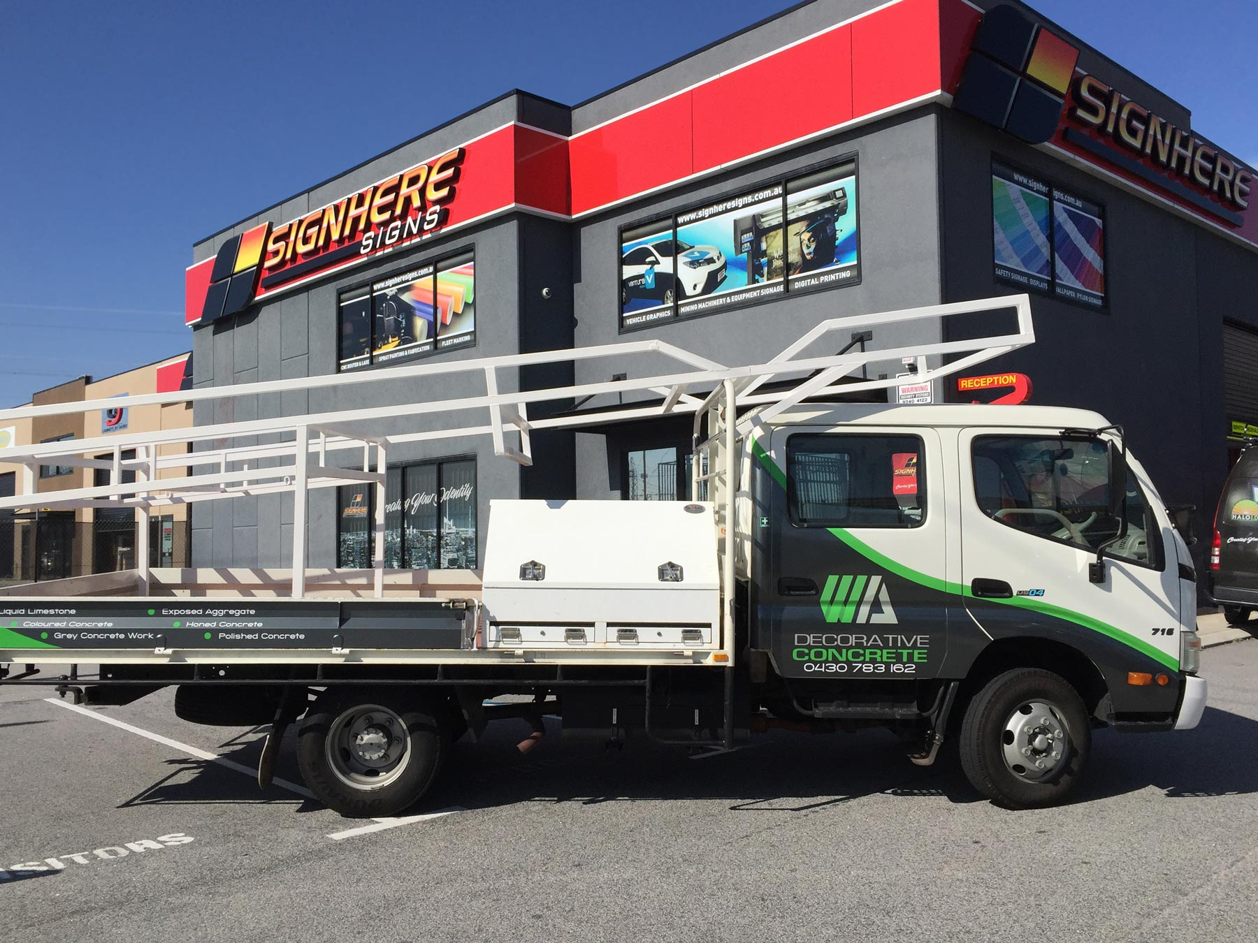 Sign Here Signs provide vehicle branding for Tradies like WA Decorative Concrete