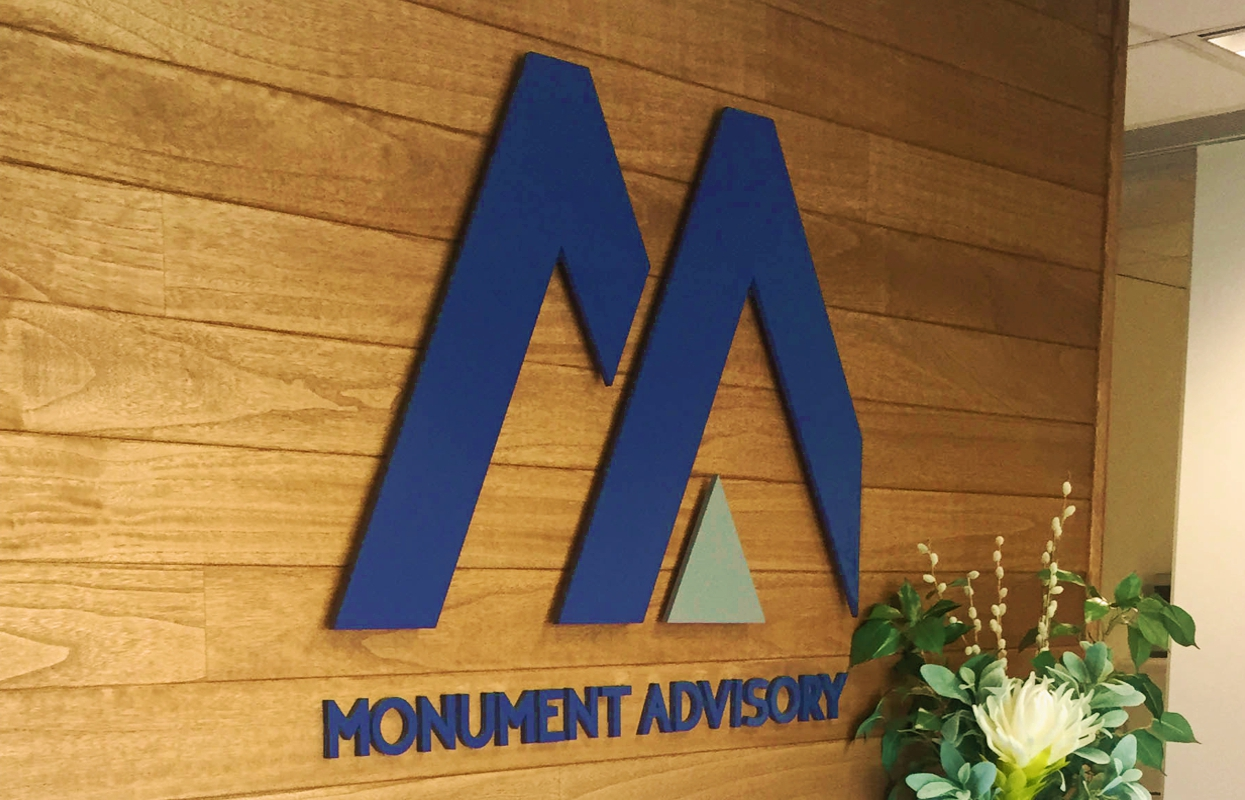 3D Logo and Reception Signage for Monument Advisory