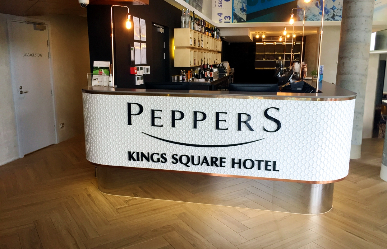 Custom Reception Signage - Peppers King Square Hotel, Perth