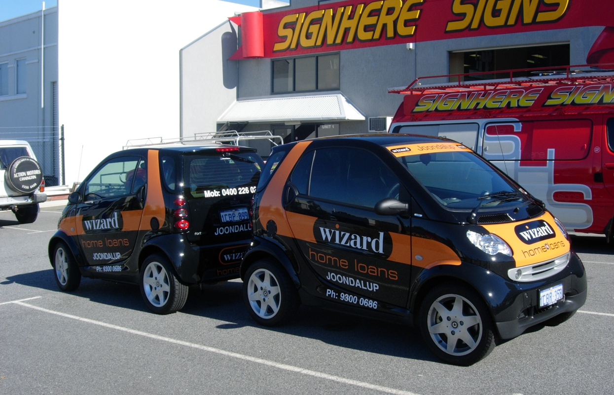 Sign Here Signs, Perth produced vehicle wraps for Wizard Home Loans