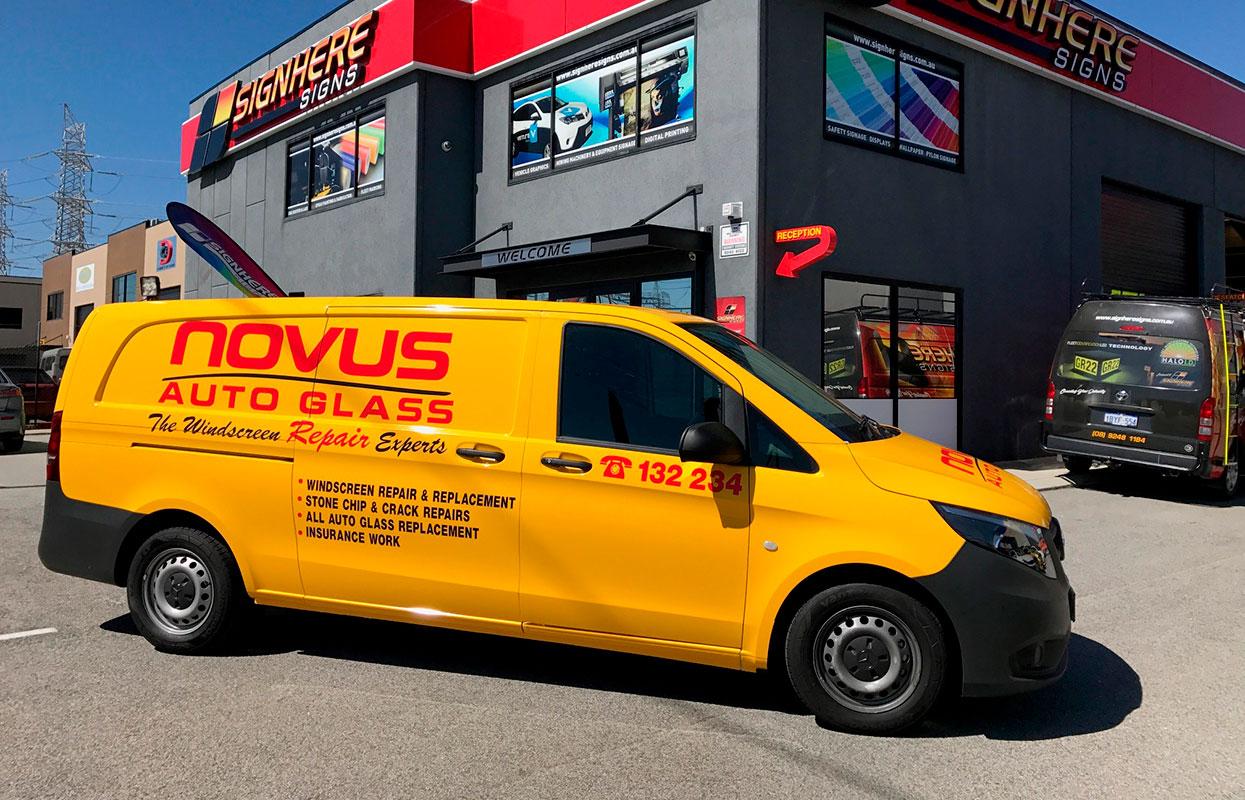 A vehicle wrap for Novus Auto Glass