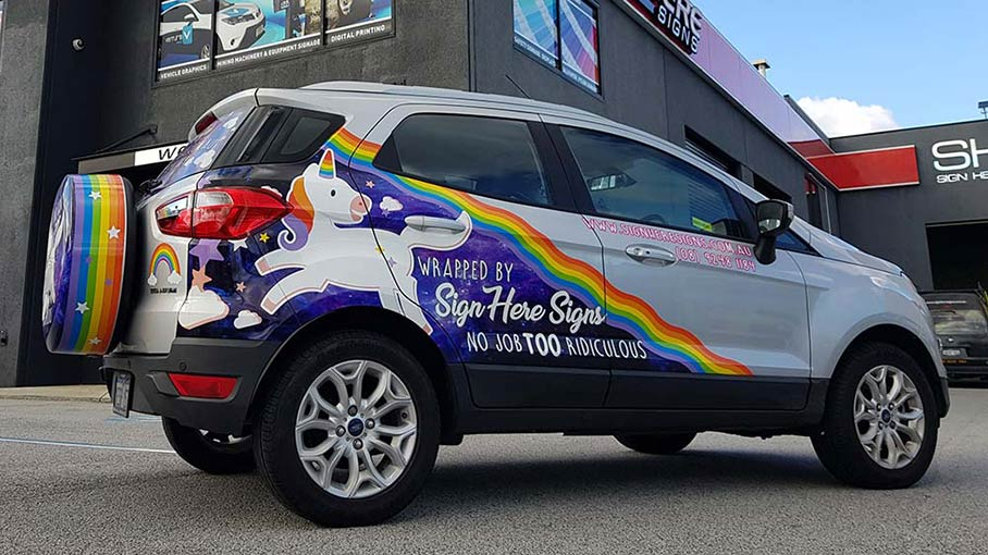 The Sign Here Signs signature Unicorn vehicle wrap.