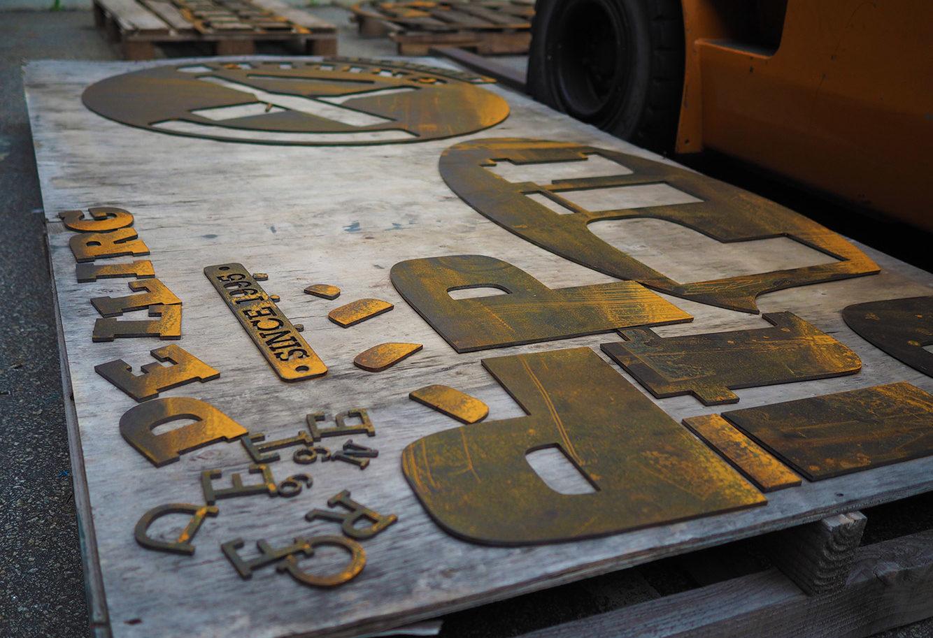 CNC cut lettering for Pit Pit