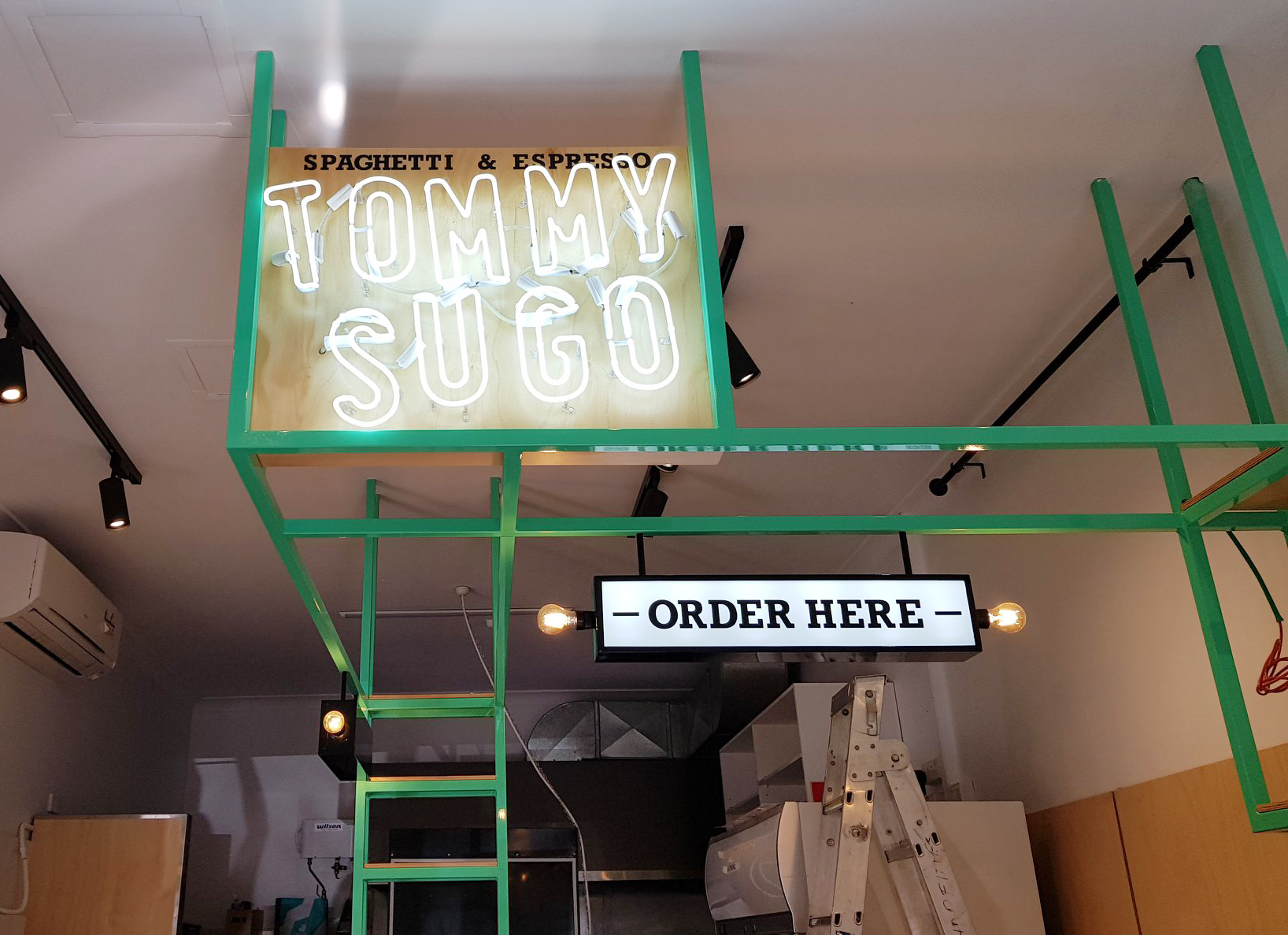 Neon signs for Tommy Sugo restaurant fit-out