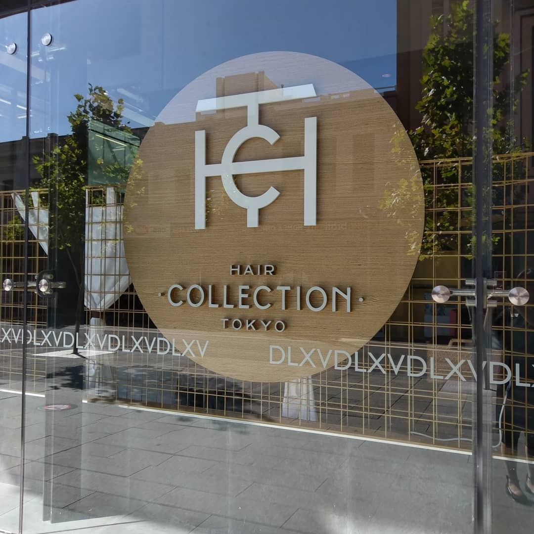Precision cut widow signage for Hair Collection Tokyo