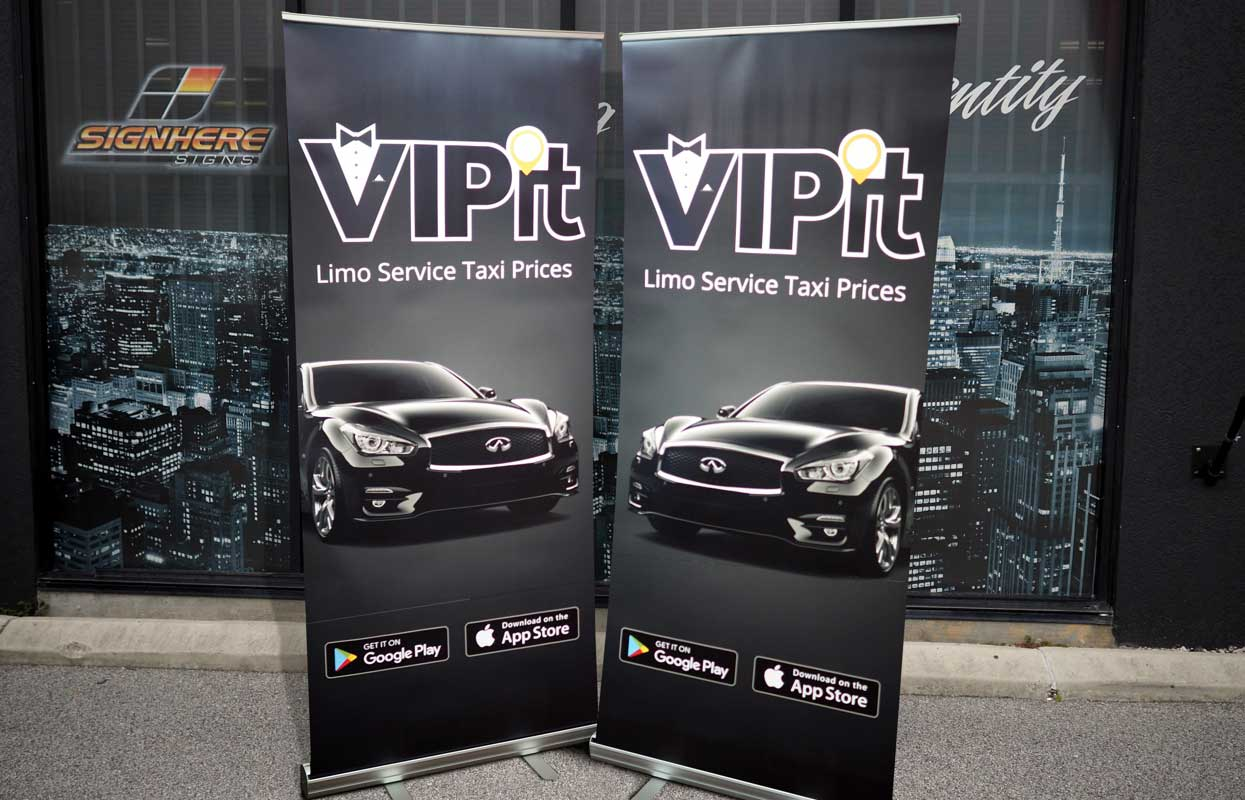 Pull-up banners for VIPit Limo Service Taxi Prices