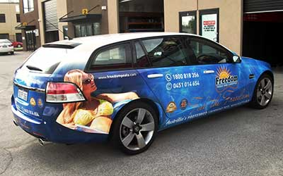 A vehicle wrap for Freedom Pools