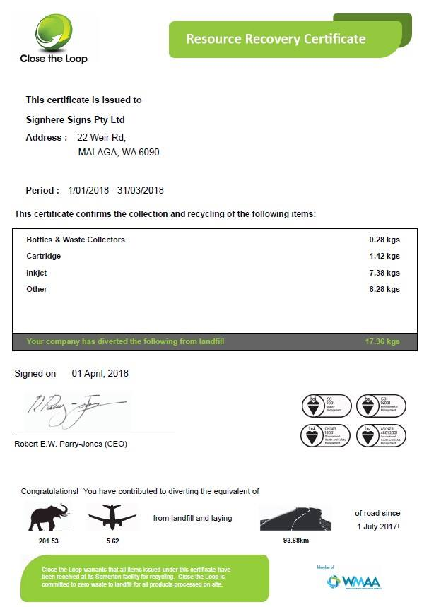 Our Close the Loop Certificate