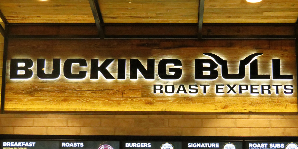 Custom laser cut halo signage for Bucking Bull, Westfield Carousel