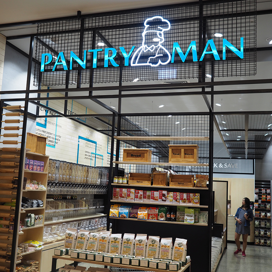 The iconic Pantry Man used Sign Here Signs to produce their shop fit-out including illuminated signage.