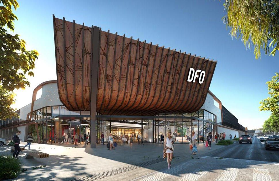 Artists impression of the DFO exterior and signage.