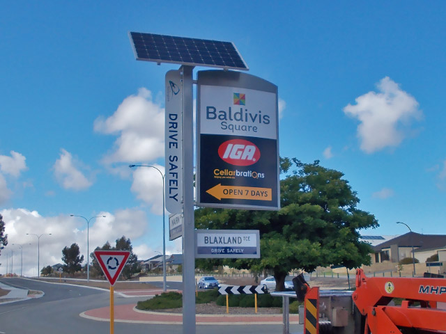 Illuminated outdoor road sign, Baldivis WA.