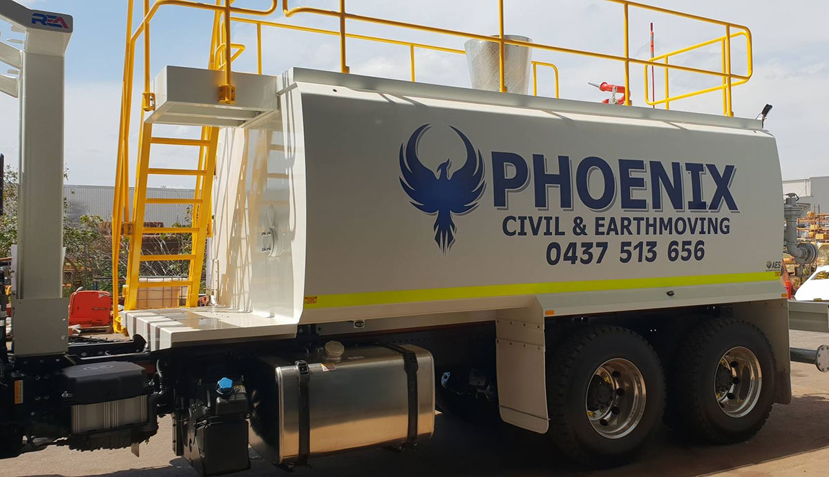 Mine-spec water cart for Phoenix Civil and Earthmoving - Opposite side view