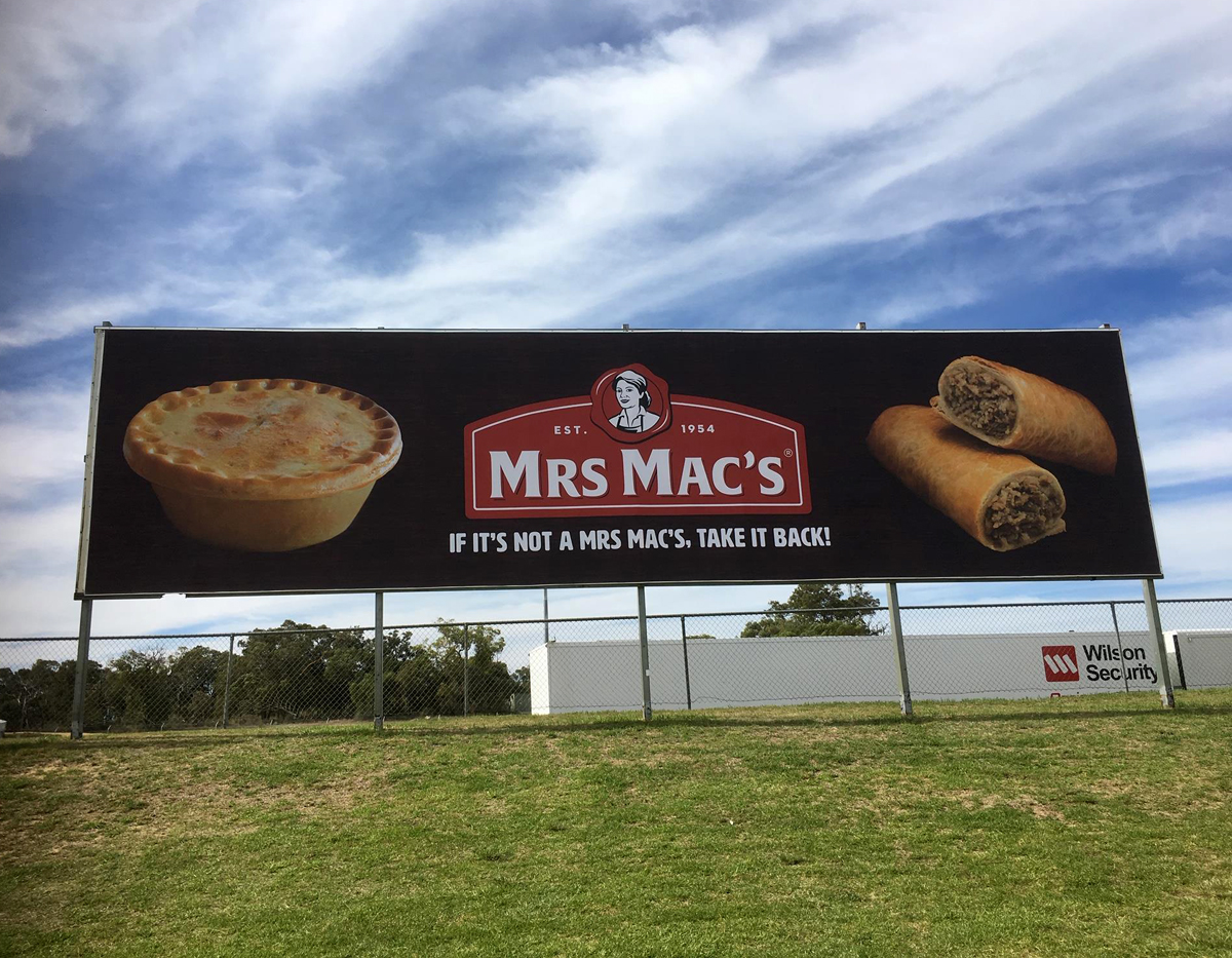 New billboard for Mrs Mac's at Barbagello Raceway