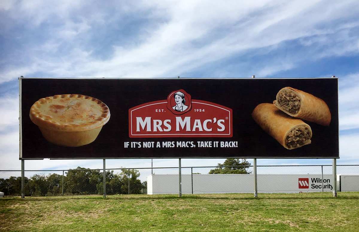 The new Mrs Mac's billboard at Barbagello Raceway in Perth
