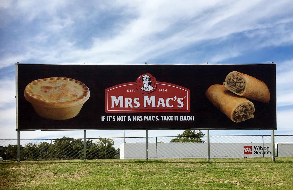 The new Mrs Mac's billboard at Barbagello Raceway in Perth