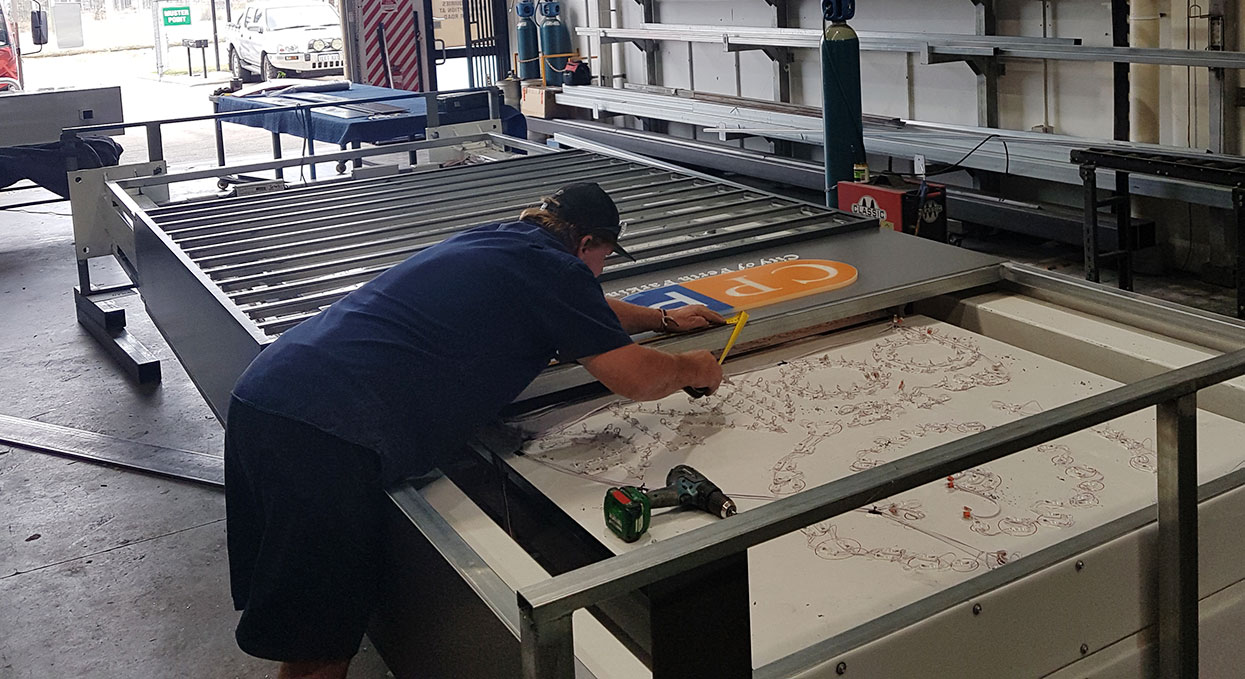 Fabricating the illuminated signage for Point Fraser, Perth