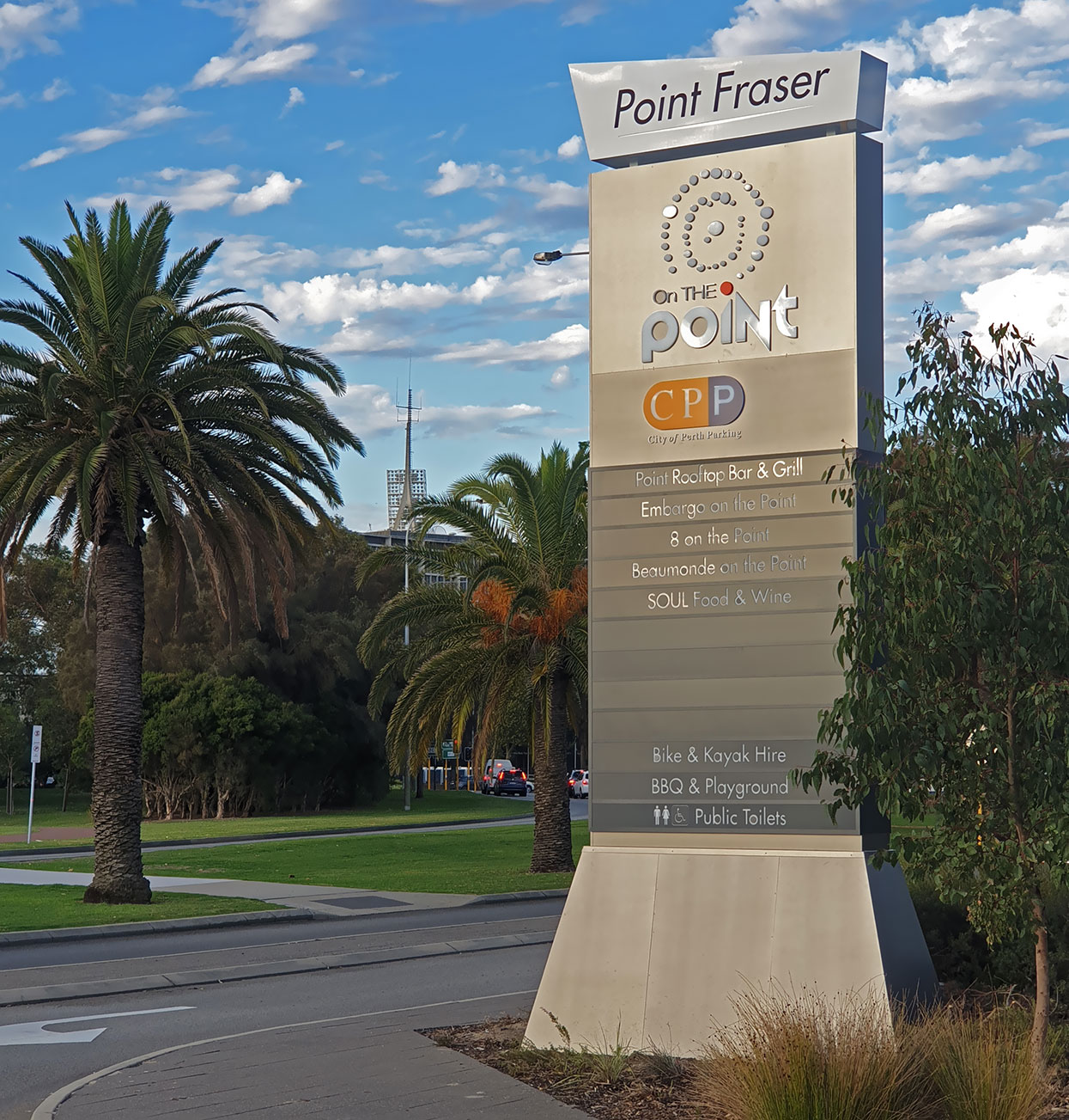 Pylon signage by Sign Here Signs at Point Fraser, Perth