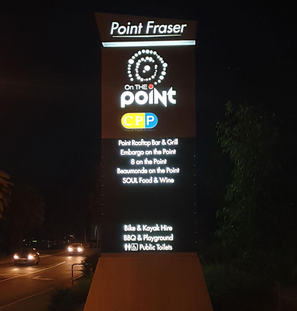 Illuminated signage by Sign Here Signs at Point Fraser, Perth