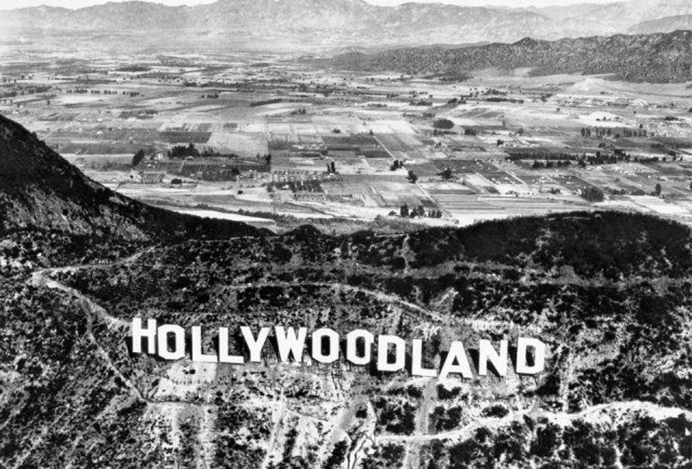 Illustration of the 'Hollywoodland' sign and housing estate. - 1923