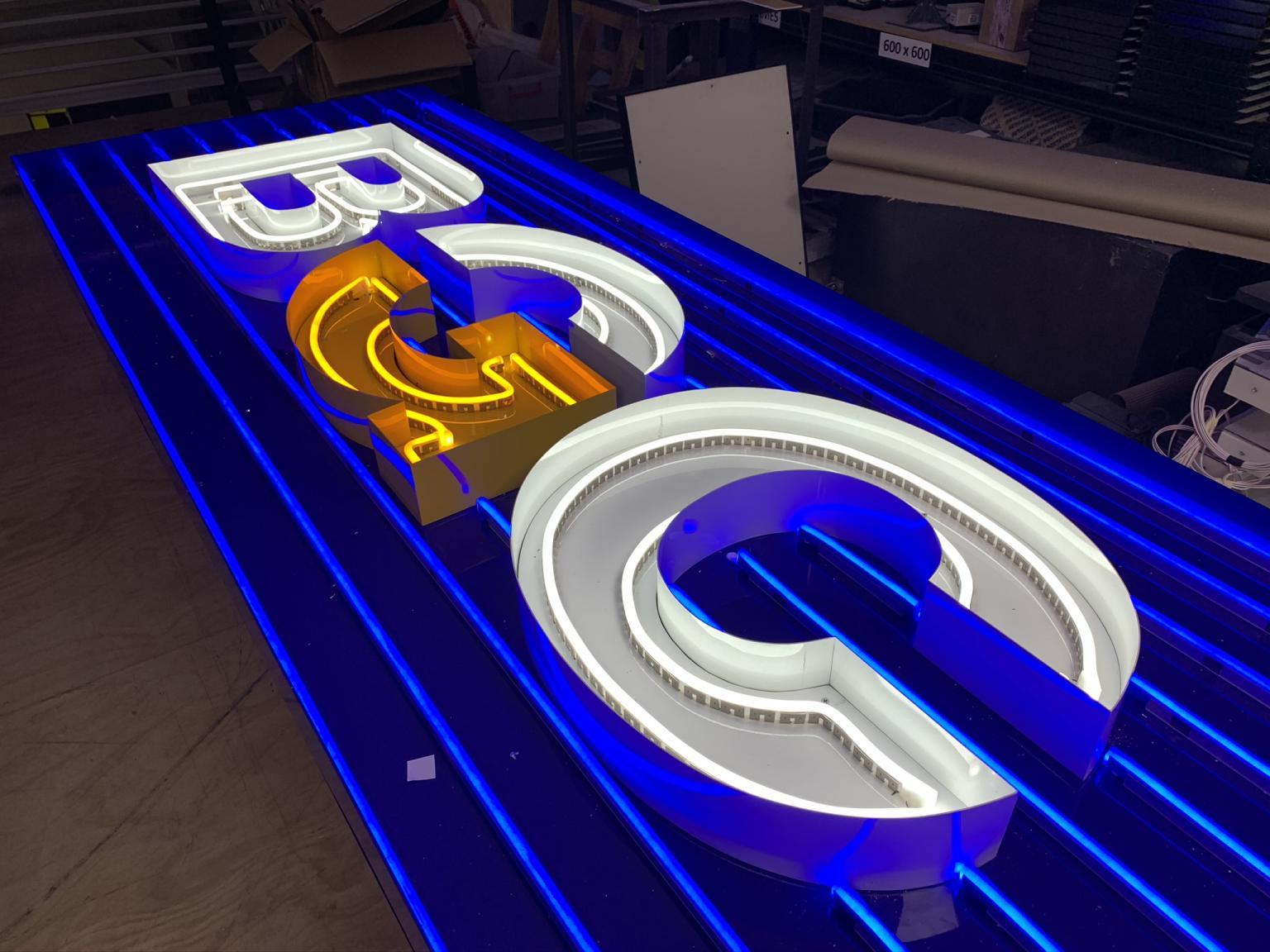 Illuminated Building Signage for BGC