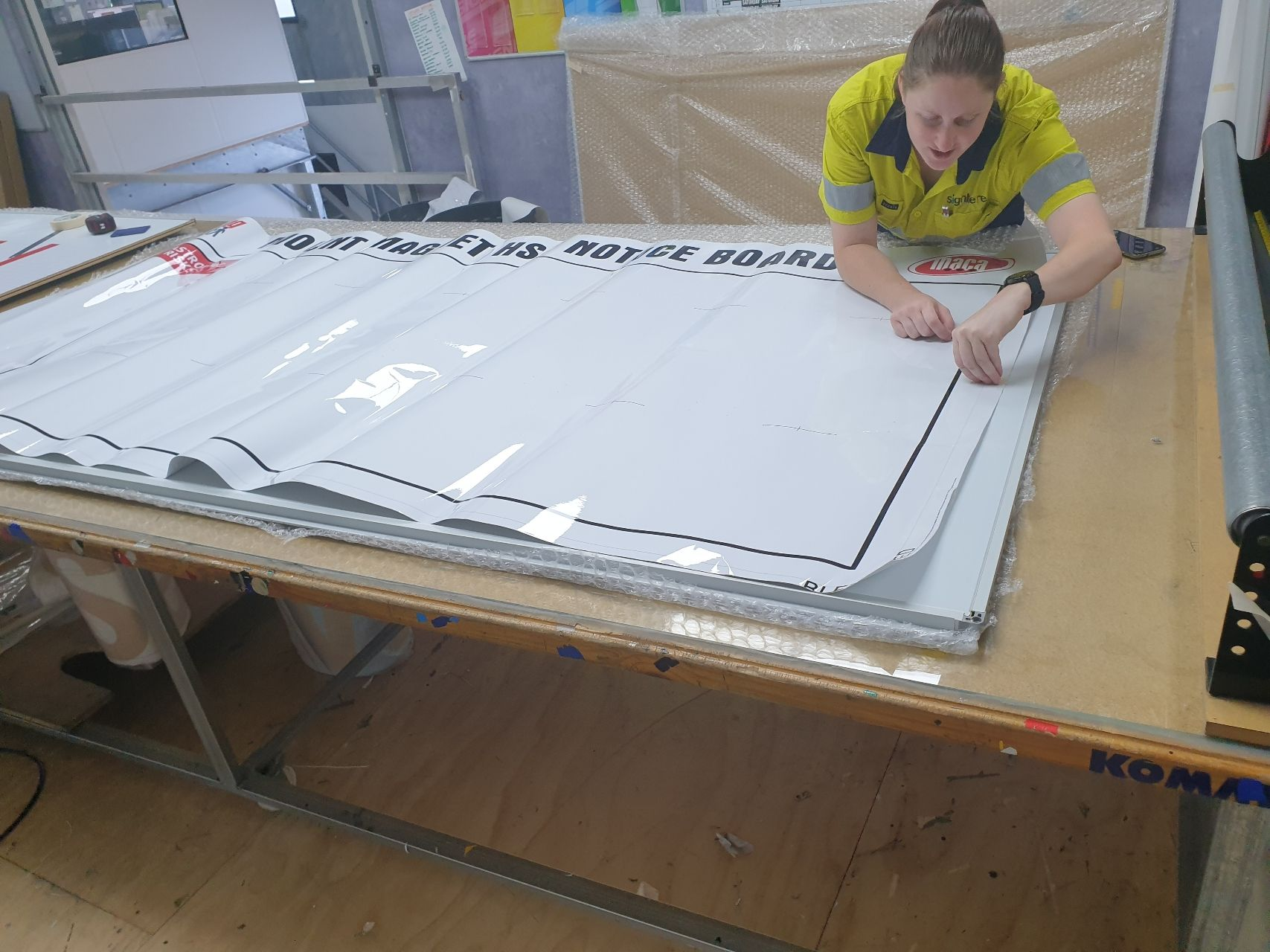 Applying the decals to a new whiteboard